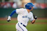 Bluefield Blue Jays first baseman Andy McGuire (29) runs to first base during the second game of a doubleheader against the Bristol Pirates on July 25, 2018 at Bowen Field in Bluefield, Virginia.  Bristol defeated Bluefield 5-2.  (Mike Janes/Four Seam Images)