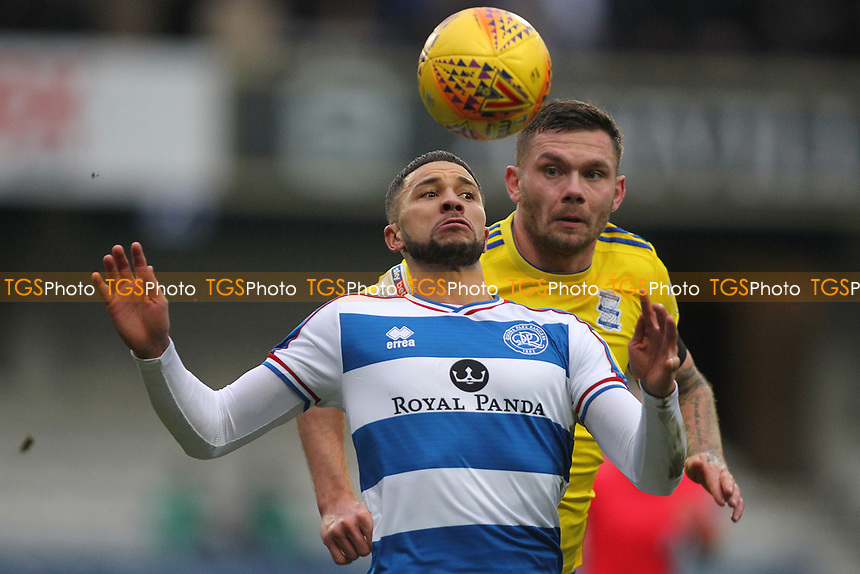 Nahki Wells of QPR and Harlee Dean of Birmingham City during Queens Park Rangers vs Birmingham City, Sky Bet EFL Championship Football at Loftus Road Stadium on 9th February 2019