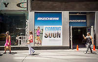 A future Skechers store in New York on Thursday, July 23, 2015. Skechers recently sued Steven Madden Ltd. claiming the Madden Setta line infringes on patents held by Skechers. Skechers is the second-largest sports footwear brand in the U.S., behind Nike. (© Richard B. Levine)