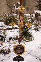 St Peters Cemetery in the snow. Decorated grave markers. Salzburg Austria