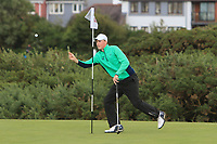 Mark Power from Ireland on the 4th green during Round 3 Singles of the Men's Home Internationals 2018 at Conwy Golf Club, Conwy, Wales on Friday 14th September 2018.<br /> Picture: Thos Caffrey / Golffile<br /> <br /> All photo usage must carry mandatory copyright credit (&copy; Golffile | Thos Caffrey)