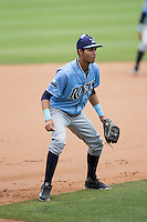 Wilmington Blue Rocks third baseman Wander Franco (11) on defense against the Winston-Salem Dash at BB&T Ballpark on June 5, 2016 in Winston-Salem, North Carolina.  The Dash defeated the Blue Rocks 4-0.  (Brian Westerholt/Four Seam Images)