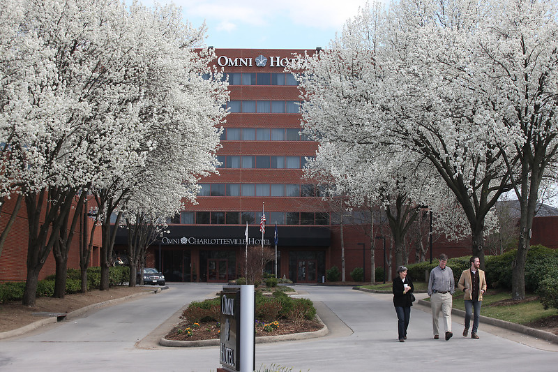 The omni hotel in early spring on the downtown mall in Charlottesville, VA.