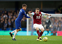 11th January 2020; Stamford Bridge, London, England; English Premier League Football, Chelsea versus Burnley; Chris Wood of Burnley being challenged by Jorginho of Chelsea - Strictly Editorial Use Only. No use with unauthorized audio, video, data, fixture lists, club/league logos or 'live' services. Online in-match use limited to 120 images, no video emulation. No use in betting, games or single club/league/player publications