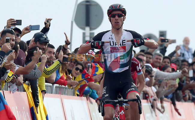 Rui Coata (POR) UAE Abu Dhabi team wins Stage 3 Al Maryah Island Stage of the 2017 Abu Dhabi Tour, starting at Al Ain and running 186km to the mountain top finish at Jebel Hafeet, Abu Dhabi. 25th February 2017<br /> Picture: ANSA/Matteo Bazzi   Newsfile<br /> <br /> <br /> All photos usage must carry mandatory copyright credit (&copy; Newsfile   ANSA)