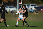 Savannah Stoughton (26) of the High Point Panthers battles for the ball with Frances Reuland (9) of the North Carolina Tar Heels during second half action at Koka Booth Stadium on November 11, 2017 in Cary, North Carolina.  The Tar Heels defeated the Panthers 3-0.   (Brian Westerholt/Sports On Film)
