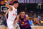 Turkish Airlines Euroleague 2018/2019. <br /> Regular Season-Round 24.<br /> FC Barcelona Lassa vs R. Madrid: 77-70. <br /> Gabriel Deck vs Adam Hanga.