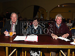 Judges Frank Godfrey, Brian and Anne Larkin at the Dunleer S Factor in the Grove Hotel. Photo:Colin Bell/pressphotos.ie