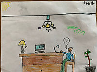 """""""Hi, Zoom"""" Drawing by Read Weiss, Grade 3, Yarmouth, ME, USA"""