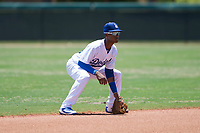 AZL Dodgers shortstop Albert Suarez (56) during an Arizona League game against the AZL Padres 2 at Camelback Ranch on July 4, 2018 in Glendale, Arizona. The AZL Dodgers defeated the AZL Padres 2 9-8. (Zachary Lucy/Four Seam Images)