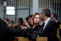 Roma, 13 Ottobre 2017<br /> Ilaria Cucchi<br /> Aula Bunker di Rebibbia<br /> Prima udienza del nuovo processo per la morte di Stefano Cucchi che vede imputati 5 Carabinieri.<br /> Il processo  è stato rinviato al 20 ottobre dopo che la presidente della Terza Corte d'Assise si è astenuta per incompatibilità, visto che era stata già giudice del primo processo per la morte del giovane.