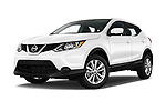 Stock pictures of low aggressive front three quarter view of a 2018 Nissan Rogue Sport S 4WD 5 Door SUV