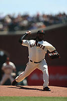 SAN FRANCISCO, CA - MAY 17:  Johnny Cueto #47 of the San Francisco Giants pitches against the Los Angeles Dodgers during the game at AT&T Park on Wednesday, May 17, 2017 in San Francisco, California. (Photo by Brad Mangin)