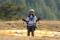 Saint Vincent-les-Forts, Lac de Serre Poncon, France, September 2007. Jeanine van de Wetering joined her father for a week long paragliding course. Volantis is home to the paragliding school Inferno. In one week time, students learn to fly the paraglider and earn their mountain licence 1. Photo by Frits Meyst/Adventure4ever.com