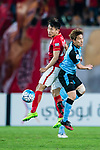 Guangzhou Forward Yu Hanchao (L) in action against Kawasaki defender Noborizato Kyohei (R) during the AFC Champions League 2017 Group G match between Guangzhou Evergrande FC (CHN) vs Kawasaki Frontale (JPN) at the Tianhe Stadium on 14 March 2017 in Guangzhou, China. Photo by Marcio Rodrigo Machado / Power Sport Images