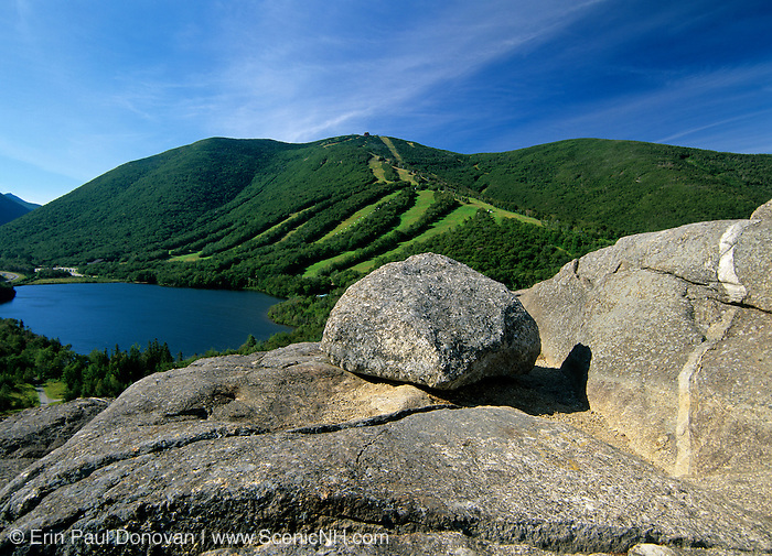 Echo Lake and Cannon Mountain from Artists Bluff in Franconia Notch of the White Mountain National Forest in New Hampshire USA.