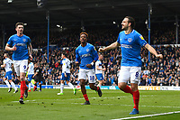 Brett Pitman of Portsmouth celebrates scoring from the penalty spot to make the score 2-0 during Portsmouth vs Rochdale, Sky Bet EFL League 1 Football at Fratton Park on 13th April 2019