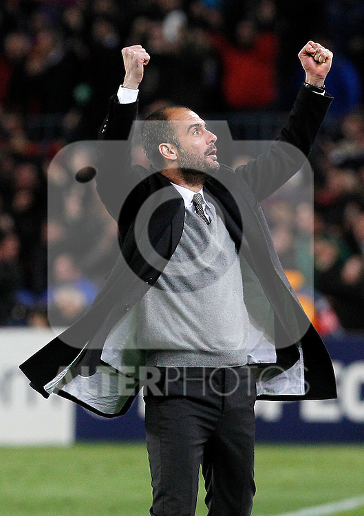 FC Barcelona's coach coach Pep Guardiola celebrates goal during UEFA Champions League match.March 8,2011. (ALTERPHOTOS/Acero)