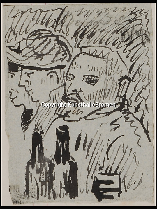 BNPS.co.uk (01202 558833)<br /> Pic: KarenBlindow/BNPS<br /> <br /> ***Please Use Full Byline***<br /> <br /> Emile Bernard's 1886/87 sketch of Vincent van Gogh in his album L'enfance d'un peintre.<br /> <br /> A previously unknown sketch of renowned artist Vincent Van Gogh produced just a year before he cut off his ear has been found hidden inside a 100 year old scrapbook.<br /> <br /> The pen-and-ink drawing shows the 'Sunflowers' artist sitting alongside two women with his left ear clearly intact. The image has been found at a museum in Germany.