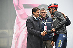 The Prime Minister Giuseppe Conte paid a visit to the Corsa Rosa today pictured with Vincenzo Nibali (ITA) Bahrain-Merida at sign on before Stage 5 of the 2019 Giro d'Italia, running 140km from Frascati to Terracina, Italy. 15th May 2019<br /> Picture: Gian Mattia D'Alberto/LaPresse | Cyclefile<br /> <br /> All photos usage must carry mandatory copyright credit (© Cyclefile | Gian Mattia D'Alberto/LaPresse)