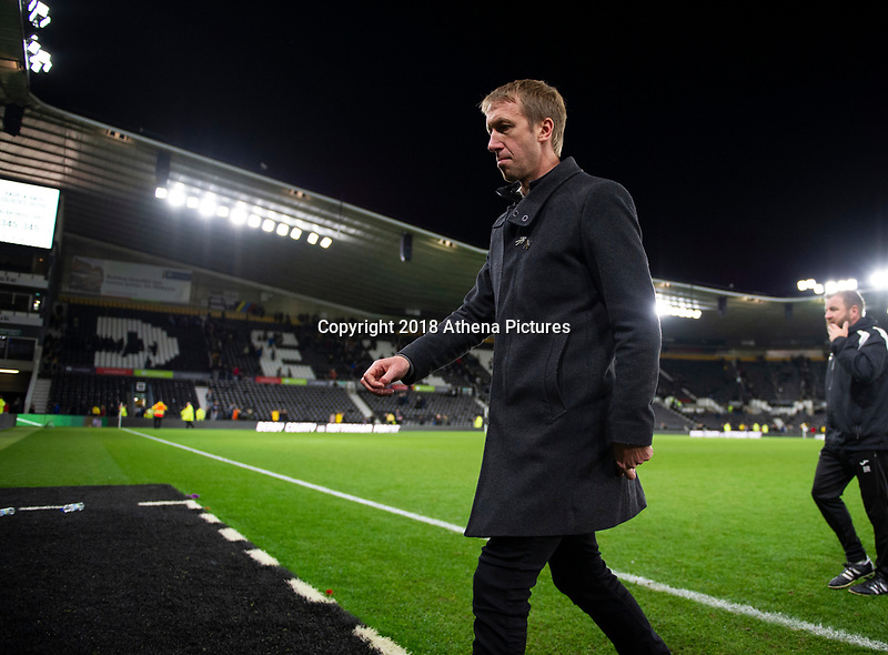 Graham Potter Manager of Swansea City leaves the pitch dejected at fu;; time during the Sky Bet Championship match between Derby City and Swansea City at the Pride Park Stadium in Derby, England, UK. Saturday 01 December 2018