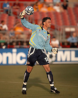 Houston Dynamo goalkeeper Pat Onstad (18).  Houston Dynamo tied Toronto FC 0-0 at Robertson Stadium in Houston, TX on July 15, 2007. In the 77th minute of the game the Houston Dynamo captured the all time MLS shutout record and finished the game with 695 consecutive minutes without allowing a goal.
