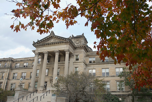 Fall colors surround Beardshear Hall on the campus of Iowa State University in Ames, Iowa. (Christopher Gannon/Gannon Visuals)