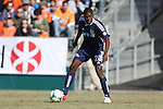24 February 2013: Carolina's Breiner Ortiz (COL). The NASL Carolina RailHawks played MLS's Vancouver Whitecaps FC at WakeMed Stadium in Cary, North Carolina in a 2013 preseason game. Vancouver won the game 3-0.