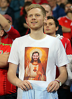 A Wales fan with a t-shirt showing Joe Allen of Wales as Jesus Christ during the FIFA World Cup Qualifier Group D match between Wales and Republic of Ireland at The Cardiff City Stadium, Wales, UK. Monday 09 October 2017