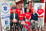 Launching the Killarney Cardiac response unit at Market Cross on Friday was front l-r: Dr John Geaney, Damian Baker, Jim McNiece, Luke Daly, Tony McNab. Back row: Deirdre Nolan, Mike O'Brien, Nicky Taddai, John Joe Culloty Killarney Mayor, Kate O'Leary Killarney Chamber President, Helena Daly and Cllr Donal O'Grady