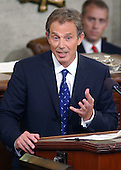 "Prime Minister Tony Blair of Great Britain addresses a Joint Session of the United States Congress in the U.S. Capitol in Washington, DC on July 17, 2003.  The Prime Minister said America must ""listen as well as lead"" in the fight against terrorism. <br /> Credit: Ron Sachs / CNP"