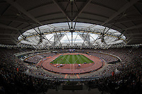 General view of the Queen Elizabeth Stadium as a near capacity crowd watches the events  during the Sainsbury's Anniversary Games, Athletics event at the Olympic Park, London, England on 25 July 2015. Photo by Andy Rowland.