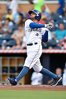 Durham Bulls right fielder Justin Christian #15 swings at a pitch during a game against the Toledo Mud Hens at Durham Bulls Athletic Park on July 25, 2014 in Durham, North Carolina. The Mud Hens defeated the Bulls 5-3. (Tony Farlow/Four Seam Images)