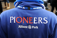 20130216 Copyright onEdition 2013©.Free for editorial use image, please credit: onEdition..Detail of the Saracens Pioneers shirt during the Premiership Rugby match between Saracens and Exeter Chiefs at Allianz Park on Saturday 16th February 2013 (Photo by Rob Munro)..For press contacts contact: Sam Feasey at brandRapport on M: +44 (0)7717 757114 E: SFeasey@brand-rapport.com..If you require a higher resolution image or you have any other onEdition photographic enquiries, please contact onEdition on 0845 900 2 900 or email info@onEdition.com.This image is copyright onEdition 2013©..This image has been supplied by onEdition and must be credited onEdition. The author is asserting his full Moral rights in relation to the publication of this image. Rights for onward transmission of any image or file is not granted or implied. Changing or deleting Copyright information is illegal as specified in the Copyright, Design and Patents Act 1988. If you are in any way unsure of your right to publish this image please contact onEdition on 0845 900 2 900 or email info@onEdition.com