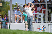 Paul Dunne (IRE) watches his tee shot on 1 during 3rd round of the World Golf Championships - Bridgestone Invitational, at the Firestone Country Club, Akron, Ohio. 8/4/2018.<br /> Picture: Golffile | Ken Murray<br /> <br /> <br /> All photo usage must carry mandatory copyright credit (© Golffile | Ken Murray)