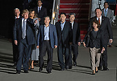 United States President Donald J. Trump welcomes Kim Dong Chul, Kim Hak Song and Tony Kim back to the US at Joint Base Andrews in Maryland on Thursday, May 10, 2018.  The three men were imprisoned in North Korea for periods ranging from one and two years.  They were released to US Secretary of State Mike Pompeo as a good-will gesture in the lead-up to the talks between President Trump and North Korean leader Kim Jong Un.  Pictured with the President are US Vice President Mike Pence, first lady Melania Trump, and US Secretary of State Mike Pompeo.<br /> Credit: Ron Sachs / CNP
