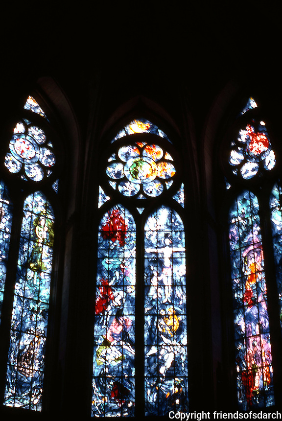Rheims: Chagall Chapel--stained glass windows. Cathedral damaged in WWI,  restored. Photo '87.
