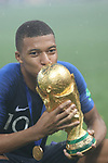 15/07/2018, Luzhniki stadium, Moscow, Russia; FIFA World Cup Russia 2018, Final Football Match France versus Croatia, France is the new World Champion. France won the World Cup for the second time 4-2 against Croatia. Kylian Mbappe kiss the Trophy.