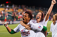Portland Thorns goalkeeper Karina LeBlanc (1) celebrates with forward Danielle Foxhoven (9). The Portland Thorns defeated the Western New York Flash 2-0 during the National Women's Soccer League (NWSL) finals at Sahlen's Stadium in Rochester, NY, on August 31, 2013.