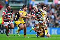 Lachlan McCaffrey of Leicester Tigers looks to pass the ball. Aviva Premiership match, between Leicester Tigers and Worcester Warriors on October 8, 2016 at Welford Road in Leicester, England. Photo by: Patrick Khachfe / JMP
