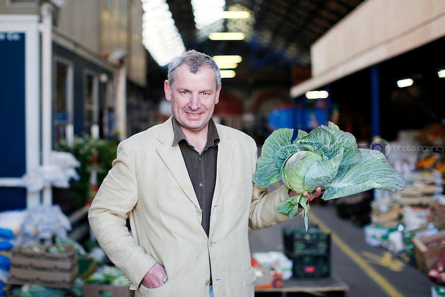 26/8/2011. Dublin Fruit and Vegetable Market.  Derek Leonard from Leonard Potatoes 5th generation seller is pictured at the Dublin Fruit and Vegetable Market. for over 40 years. Picture James Horan/Collins Photos