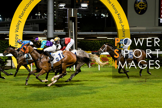 #11 Jockey Jack Wong Ho-nam (C) riding Good For You during the Hong Kong Racing at Happy Valley Race Course on June 13, 2018 in Hong Kong, Hong Kong. Photo by Marcio Rodrigo Machado / Power Sport Images