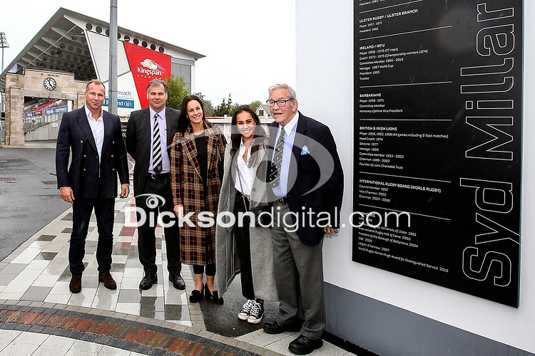 10th October 2019 | Syd Millar Pathway<br /> <br /> Syd Millar and his family during the official opening of the Syd Millar Pathway at Kingspan Stadium, Ravenhill Park, Belfast, Northern Ireland. Photo by John Dickson / DICKSONDIGITAL