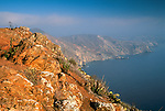 Overlooking the steep rugged coastal hills near Catalina Harbor, Catalina Island, California
