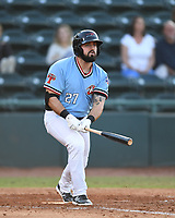Hickory Crawdads Tanner Gardner (27) watches as his hit falls foul during a game with the Asheville Tourists at L.P. Frans Stadium on May 8, 2019 in Hickory, North Carolina. The Tourists defeated the Crawdads 7-6. (Tracy Proffitt/Four Seam Images)