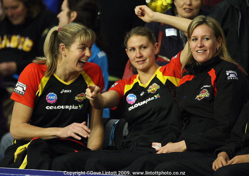 Magic's Irene Van Dyk, Casey Williams and Leana De Bruin during the ANZ Netball Championship match between the Waikato Bay of Plenty Magic and Adelaide Thunderbirds, Mystery Creek Events Centre, Hamilton, New Zealand on Sunday 19 July 2009. Photo: Dave Lintott / lintottphoto.co.nz