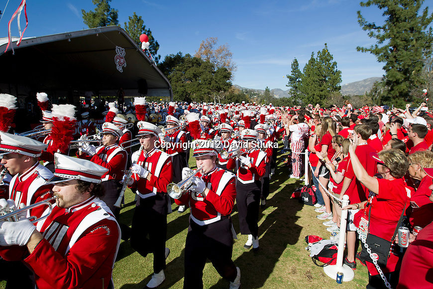 Wisconsin Badgers band performs at the Badger Tailgate Party prior to the 2012 Rose Bowl NCAA football game against the Oregon Ducks in Pasadena, California on January 2, 2012. The Ducks won 45-38. (Photo by David Stluka)
