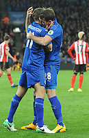 Marc Albrighton of Leicester City Christian Fuchs of Leicester City celebrates Jamie Vardy of Leicester City goal during the Premier League match between Leicester City v Sunderland played at King Power Stadium, Leicester on 4th April 2017.<br /> <br /> available via IPS Photo Agency/Rex Features  only