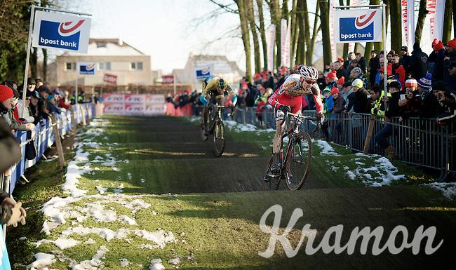 U23 bpost-banktrofee overall leader Michael Vanthourenhout (BEL/Sunweb-Napoleon Games) over the pump track<br /> <br /> Azencross Loenhout 2014