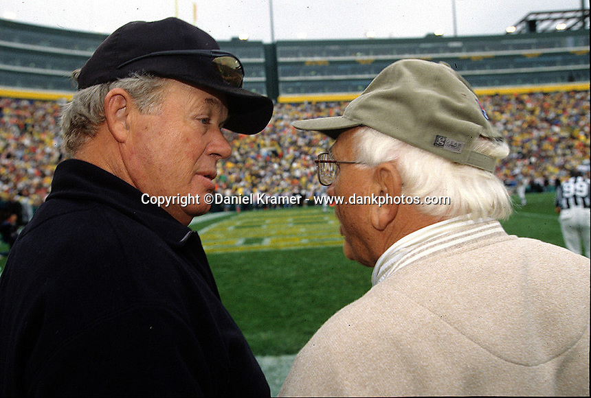 Former Packers Donny Anderson and Fuzzy Thurston on the sidelines during the 2001 home opener game against the Detroit Lions. Part of the Packers' commitment to the fans involves bringing back past Packers for an alumni appreciation day.